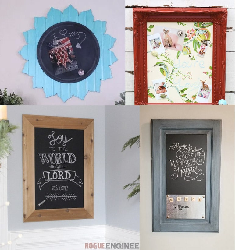 collage of unique DIY magnetic chalkboard ideas
