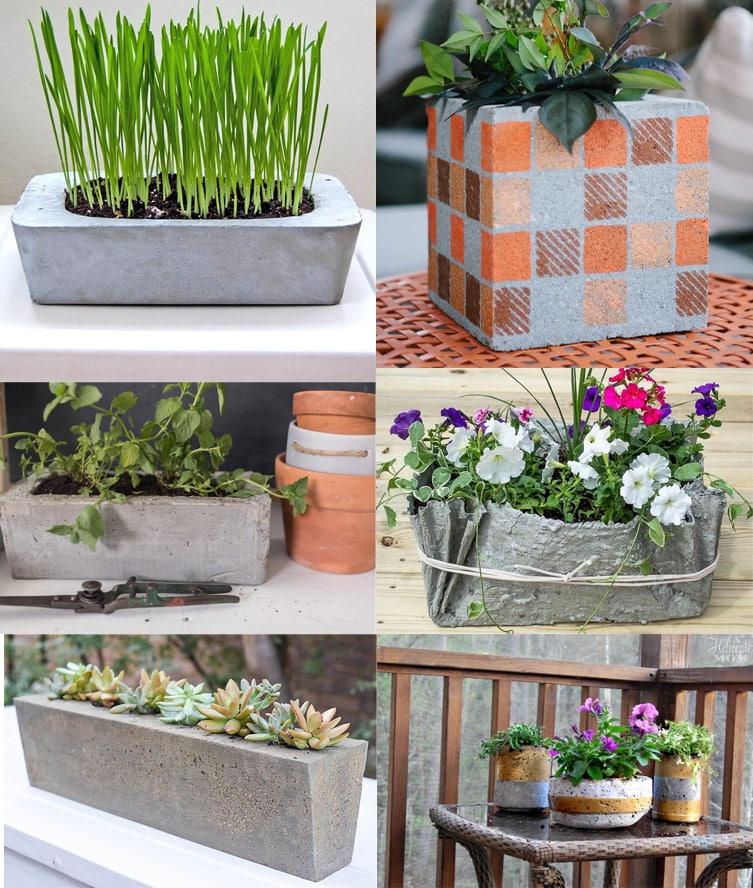 Collage of 6 DIY concrete planter boxes