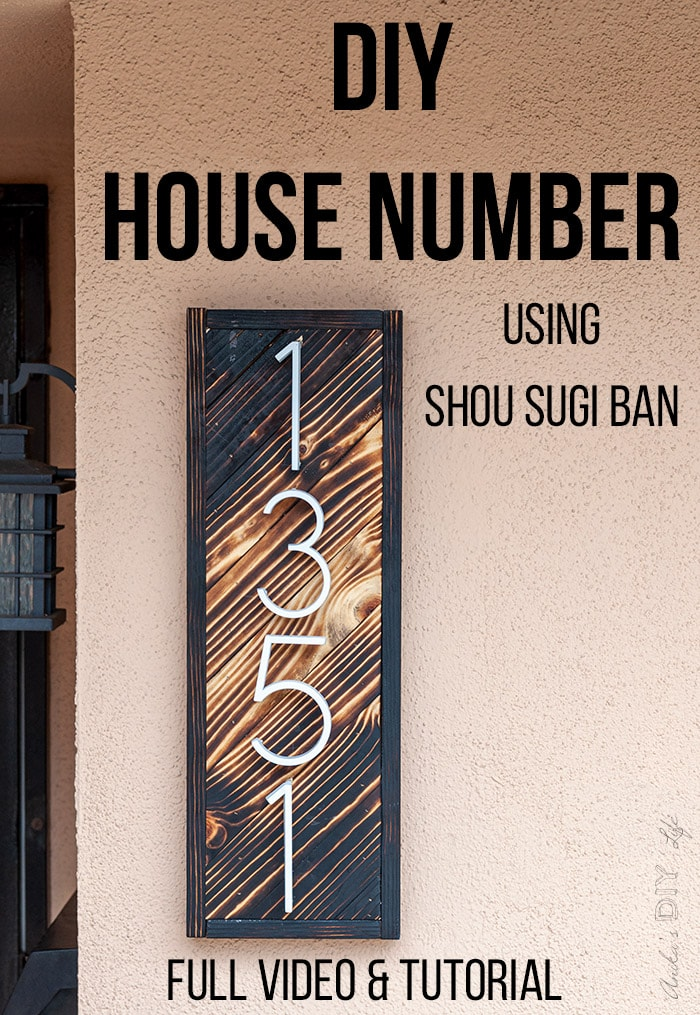 DIY House number sign on wall made using wood burning or shou sugi ban - with text overlay