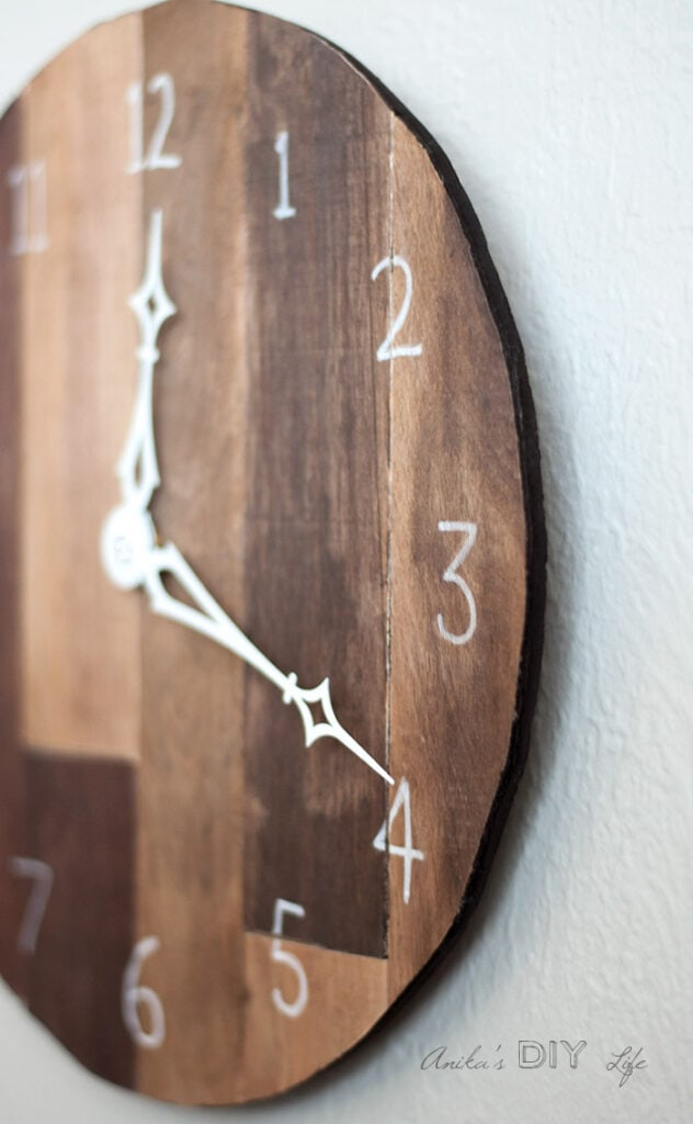 side view of DIY Wood wall clock