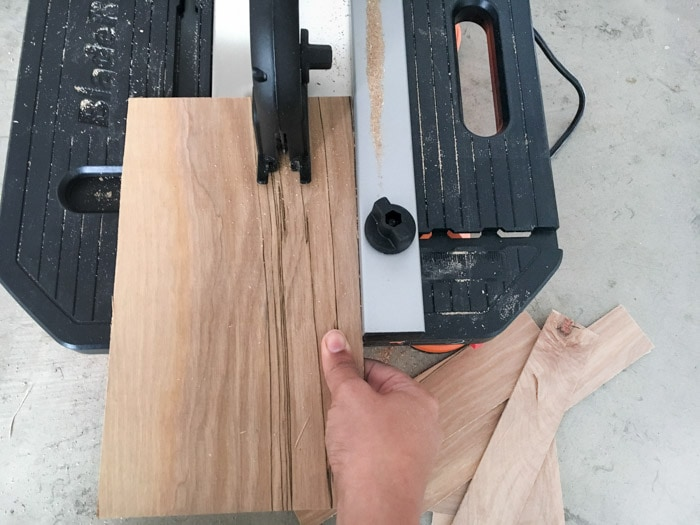 ripping plywood for the DIY wood wall clock