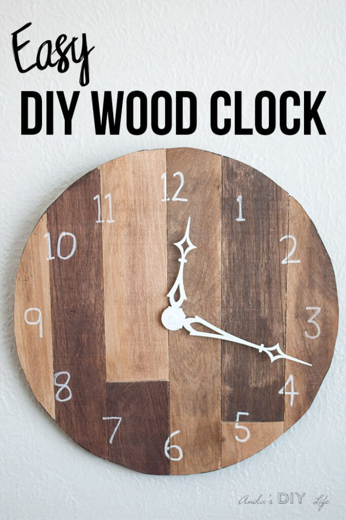 Easy DIY Wood clock on wall with text overlay