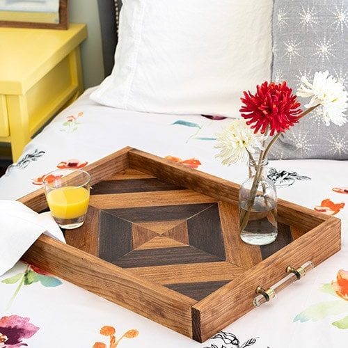 Learn how to make a gorgeous DIY wood tray using 3 basic power tools. It makes a great handmade woodworking gift for anyone. No fancy tools needed!