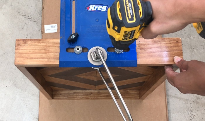 using kreg hardware jig to predrill holes for the handles