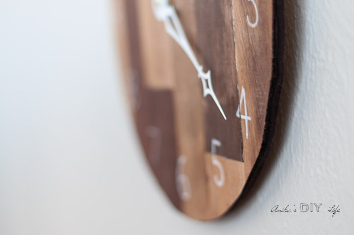 close up DIY wood clock on the wall