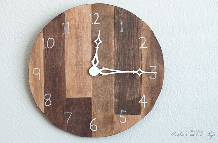 DIY wood wall clock on the wall