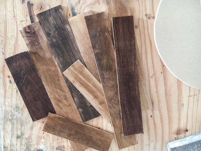stained strips for DIY wood wall clock