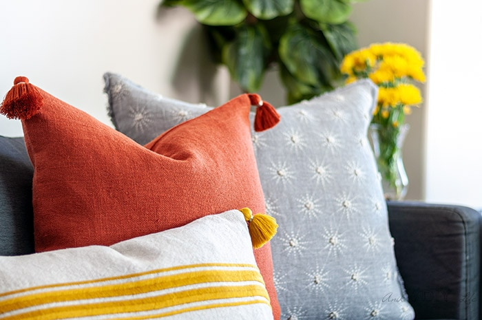 close up of pillows on warm and cozycouch