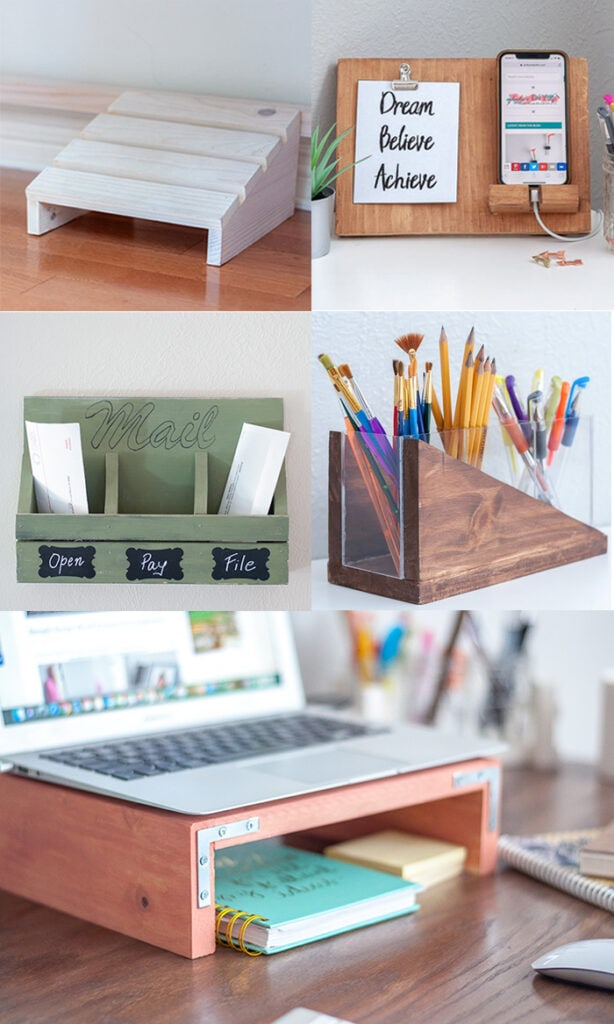 collage of easy DIY woodworking gifts for office or desk