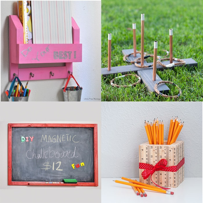 collage of easy woodworking gift ideas for kids