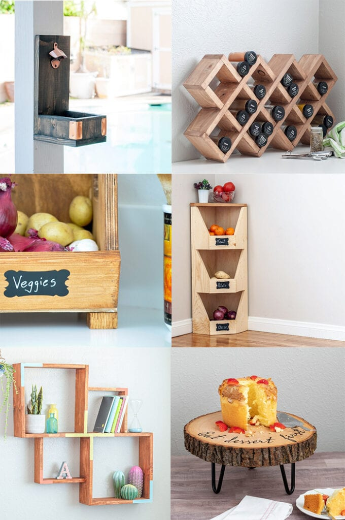 collage of small woodworking gift ideas for kitchen or hostess.