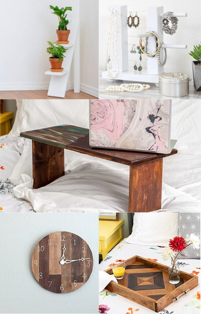 collage of woodworking gift ideas for her