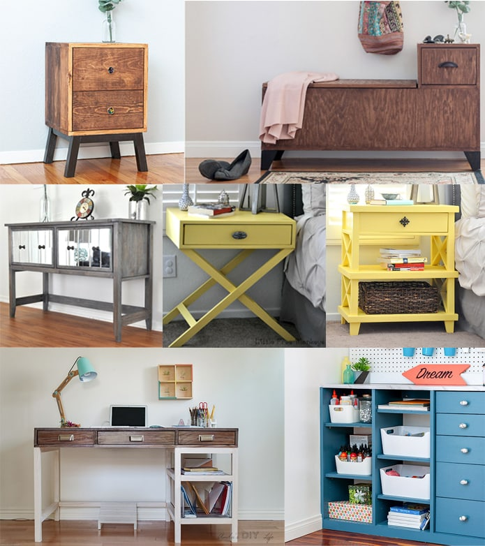 collage of furniture ideas to build using a kreg jig
