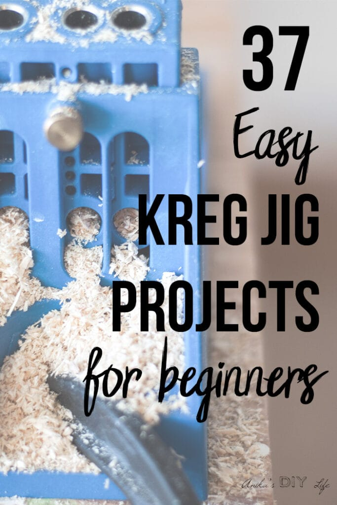 Kreg Jig covered in sawdust with text overlay