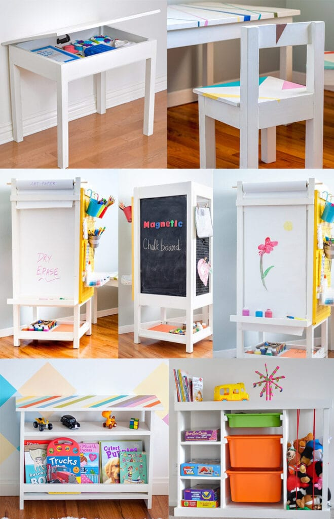 Collage of Kreg Jig projects for a kids room
