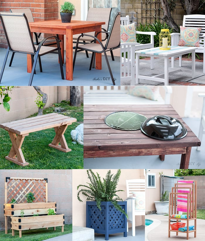 collage of easy outdoor projects you can build using a kreg jig