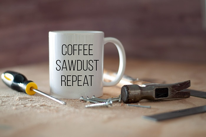 Coffee Sawdust repeat mug for woodworkers