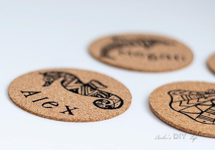 Close up look at the DIY cork coasters using iron vinyl