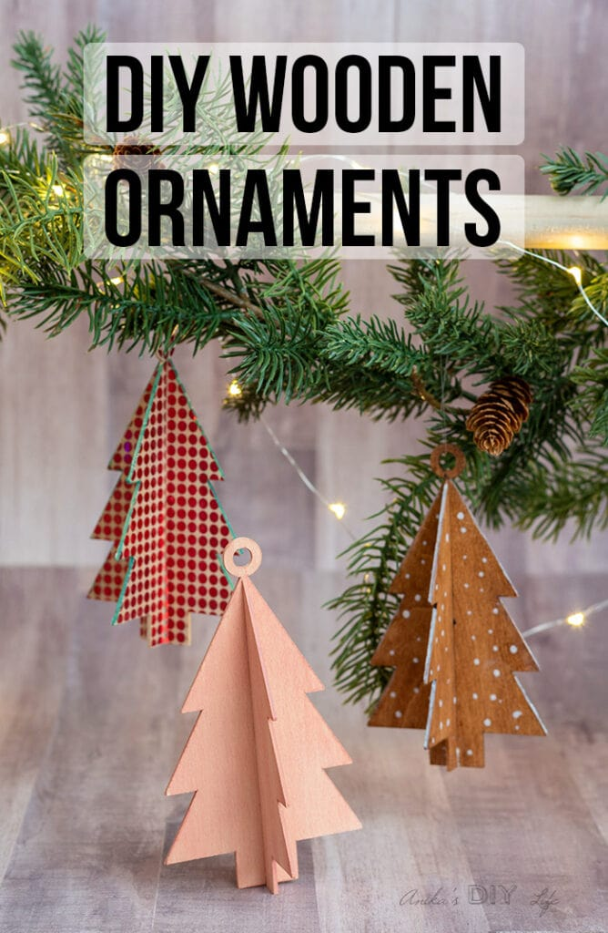 Three DIY wooden christmas ornaments with text overlay