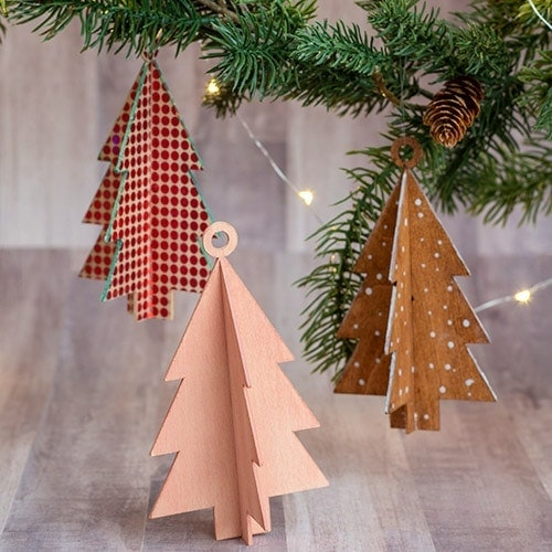How to make gorgeous DIY wooden Christmas ornaments by cutting basswood on the Cricut Maker