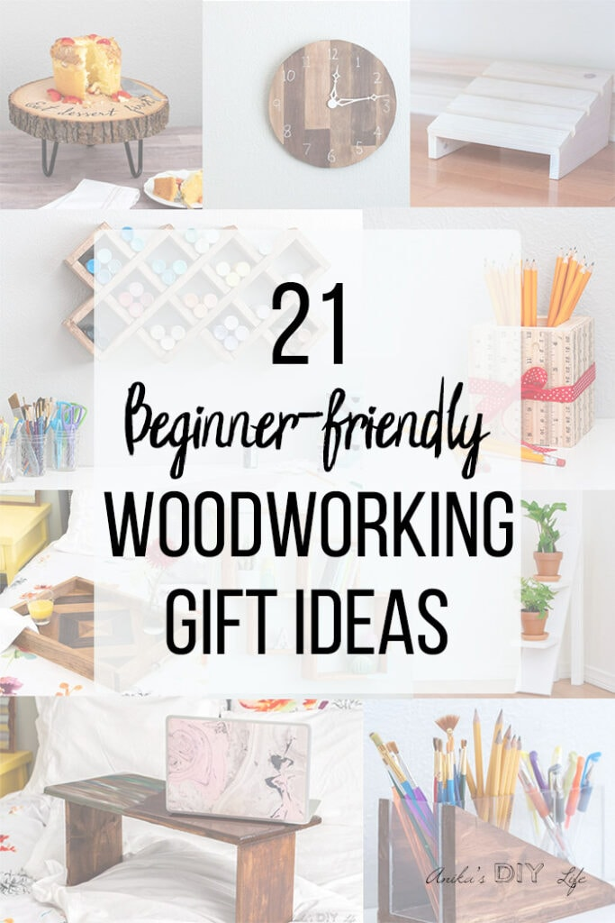 Collage of woodworking gift ideas with text overlay