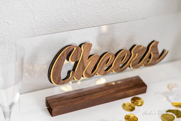 Cheers sign on the table