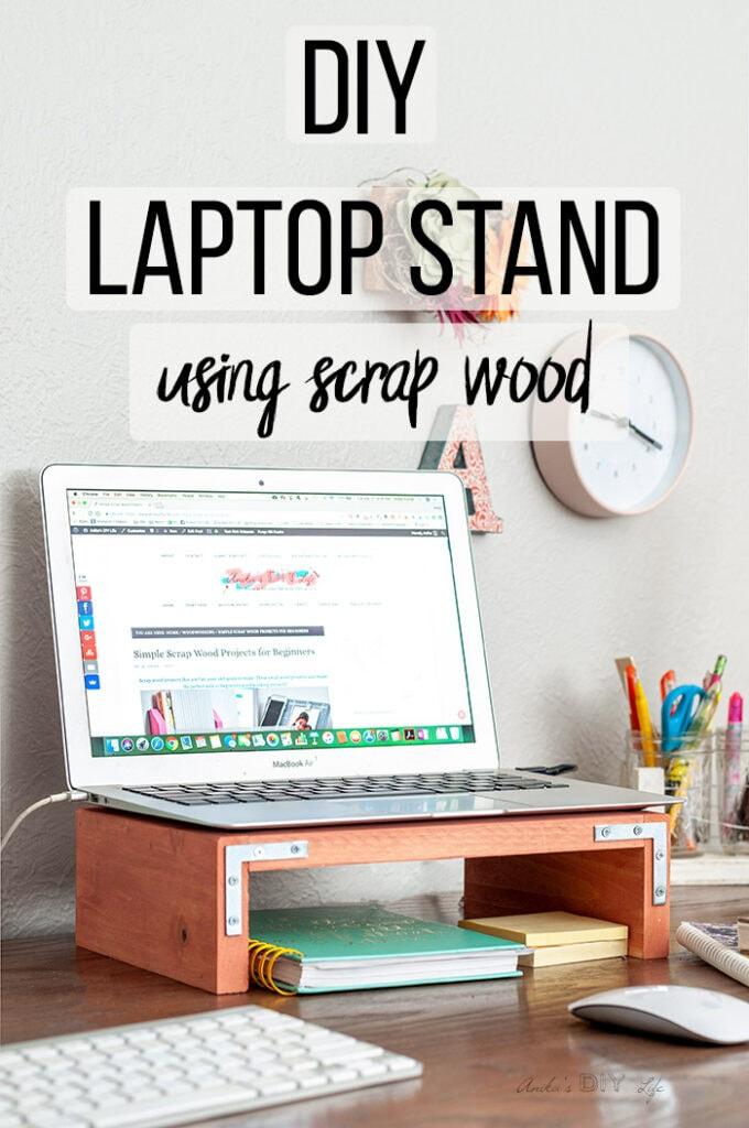 DIY Laptop stand on desk with laptop on it