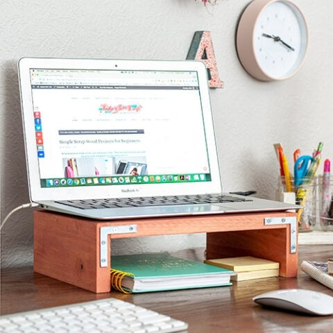 Learn how to make a simple DIY laptop stand for a desk using scrap wood with this easy to follow tutorial. This is a great beginner project and gift idea!