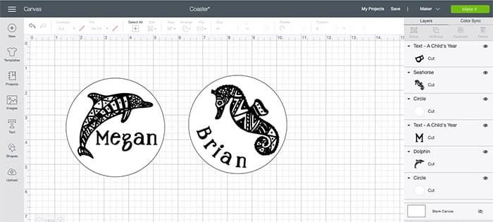 screenshot of Cricut design space with coaster tutorial