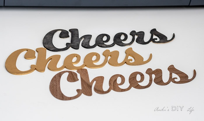Cheers cut in chipboard, basswood and veneer