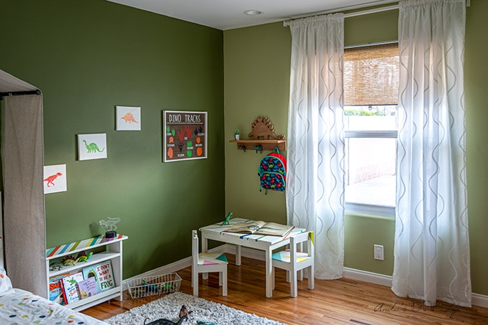 completed dinosaur and nature inspired toddler room