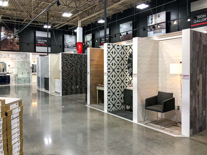 showroom displays in a Floor & Decor store