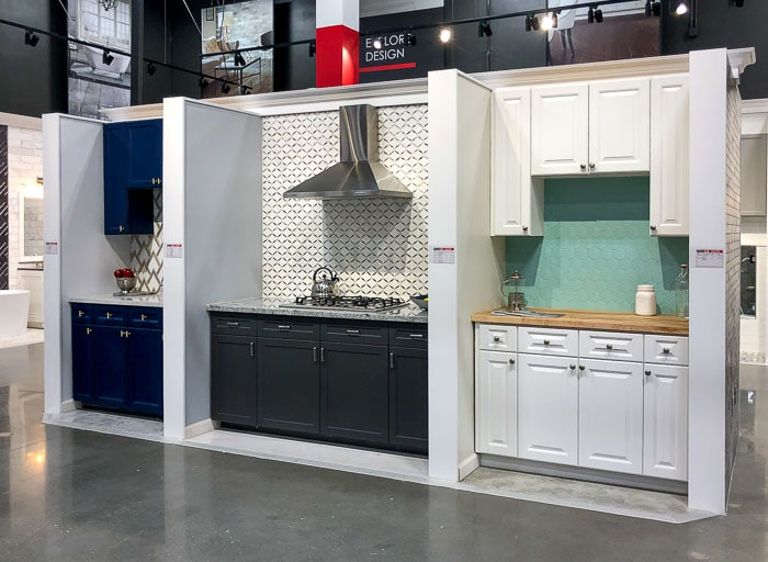 three displays in the Floor & Decor showroom