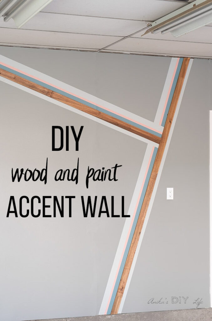 Full garage accent wall with stripes painted and with wood boards