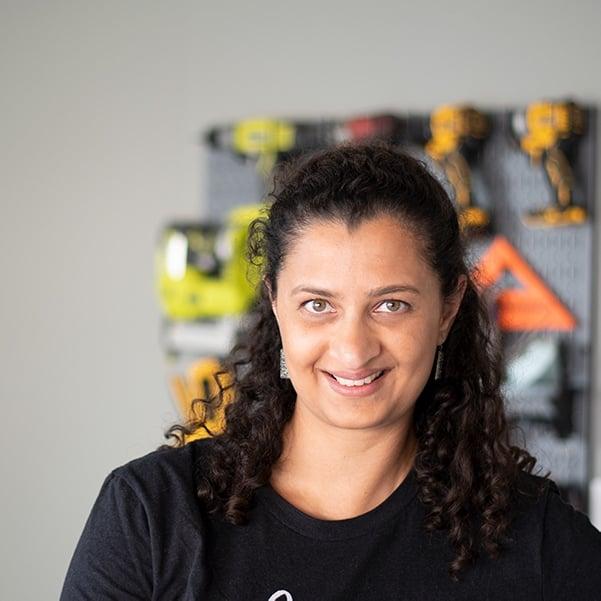 Anika Gandhi - DIY blogger in her workshop.