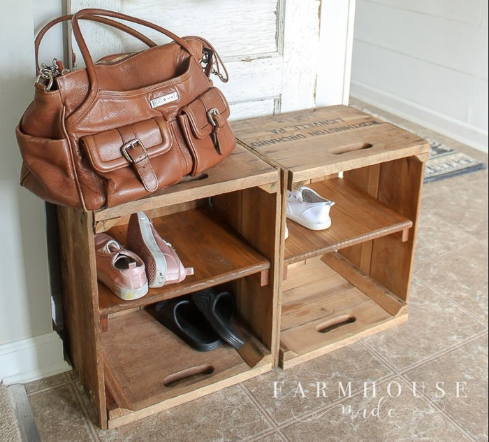 shoe storage using old boxes