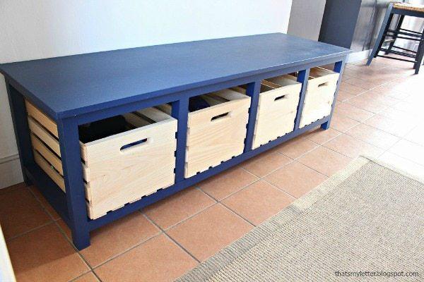 DIY shoe storage using crates