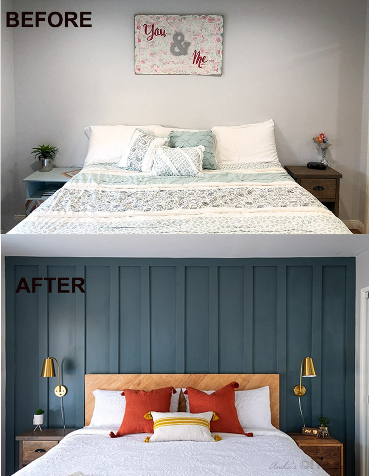 Before and after comparison of master bedroom makeover with board and batten wall.