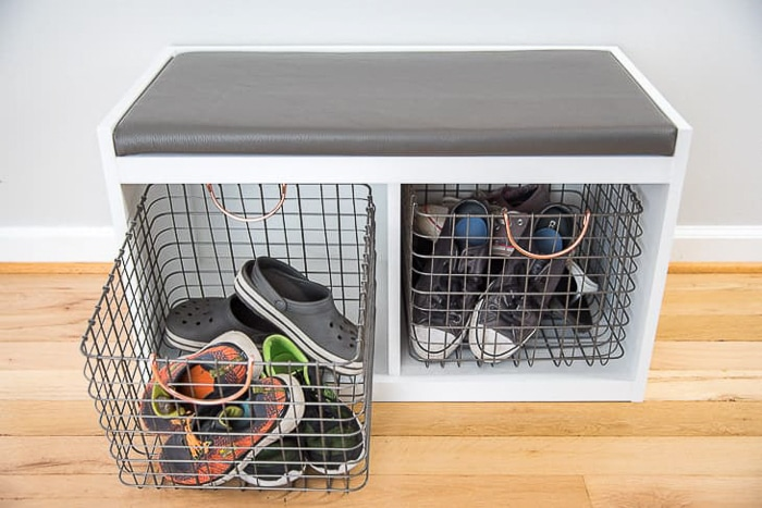 simple entryway storage with shoes