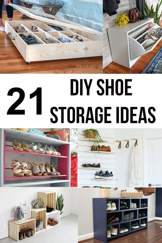 Collage of DIY shoe storage ideas with text overlay