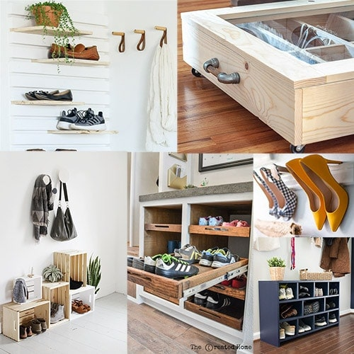 These 21 brilliant DIY shoe storage ideas will help you organize the shoe you own in any space of the home including under the bed, shoe storage benches, racks, closets and more!