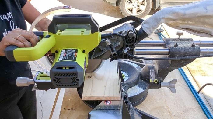 Cutting wood boards to make bathroom hook backs