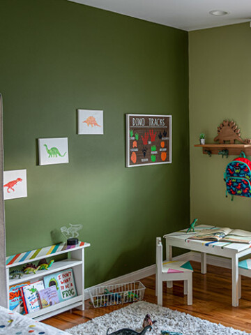 See how I transformed a bedroom into a dinosaur themed room for my toddler boy with simple and easy updates and decor ideas. Hint - it's all in the wall color!