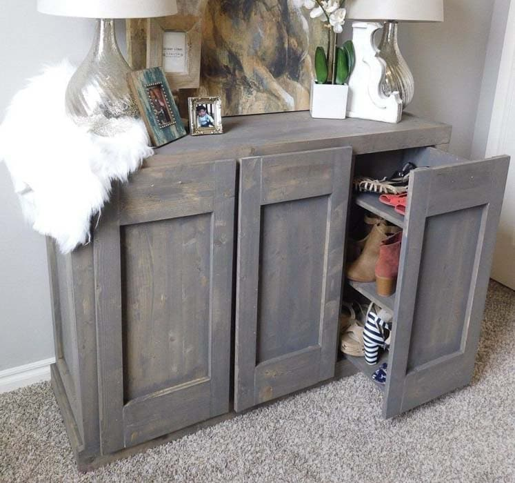 entryway cabinet with hidden shoe storage