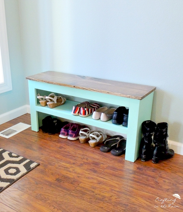 small shoe storage bench in entryway