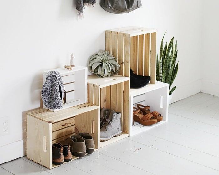 shoe organizer using crates