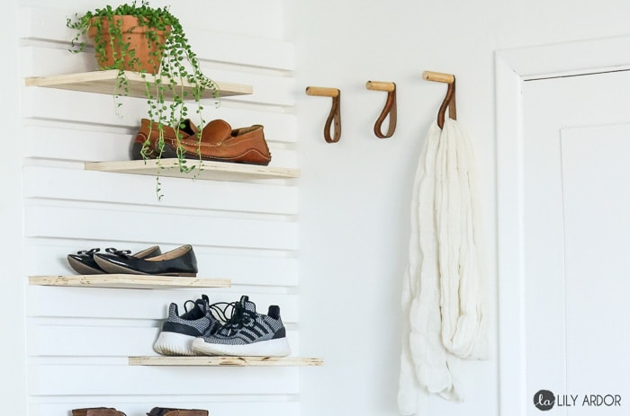 shoe storage on wall