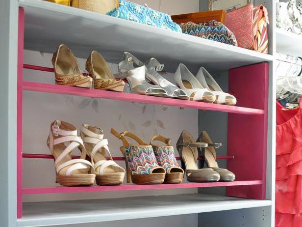 DIY high heel storage rack in closet with high heels