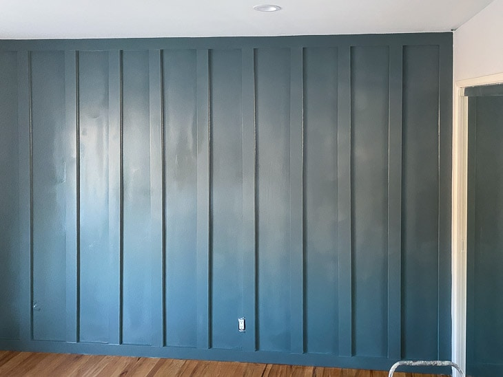 DIY board and batten wall painted