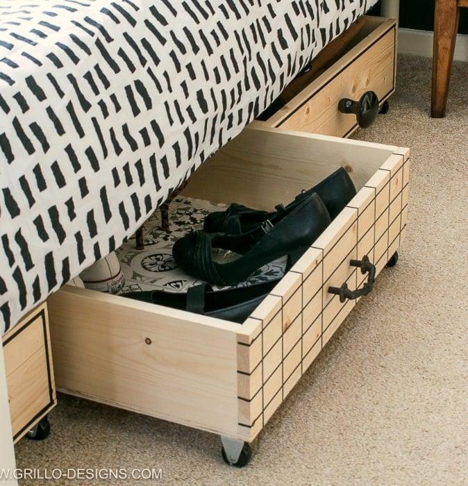 Under bed shoe storage boxes DIY